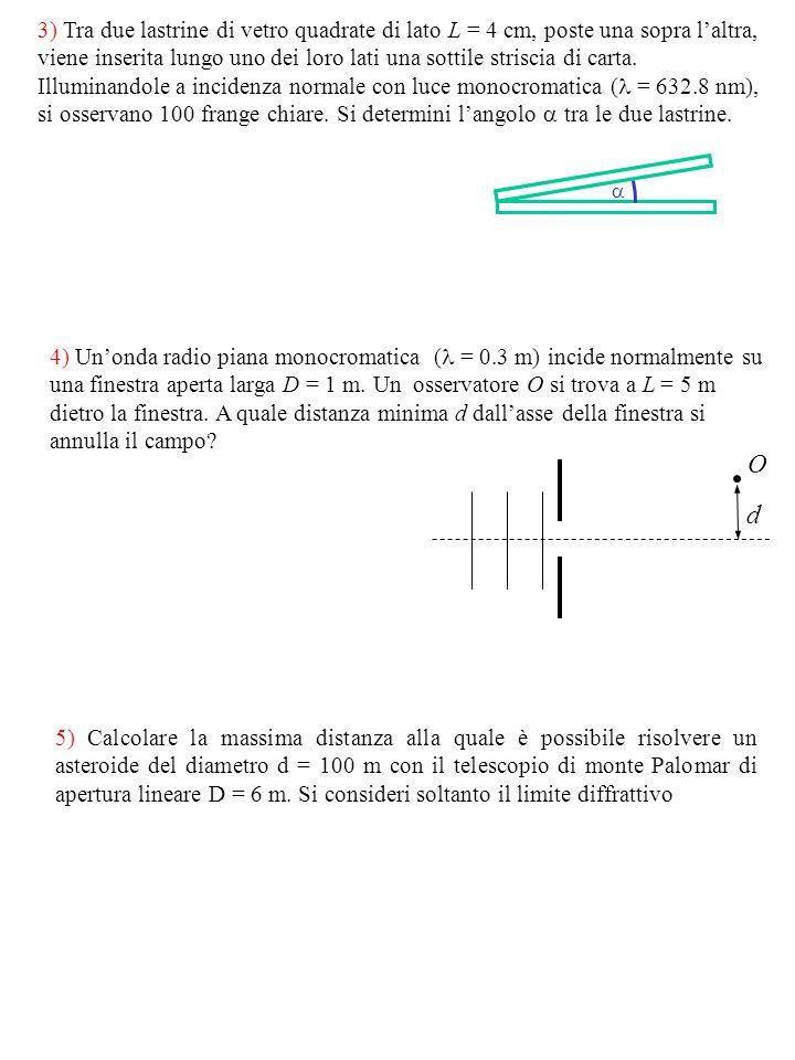 3) Tra due lastrine di vetro quadrate di lato L = 4 cm, poste una sopra l'altra, viene inserita lungo uno dei loro lati una sottile striscia di carta. Illuminandole a incidenza normale con luce monocromatica ( = 632.8 nm), si osservano 100 frange chiare. Si determini l'angolo  tra le due lastrine.