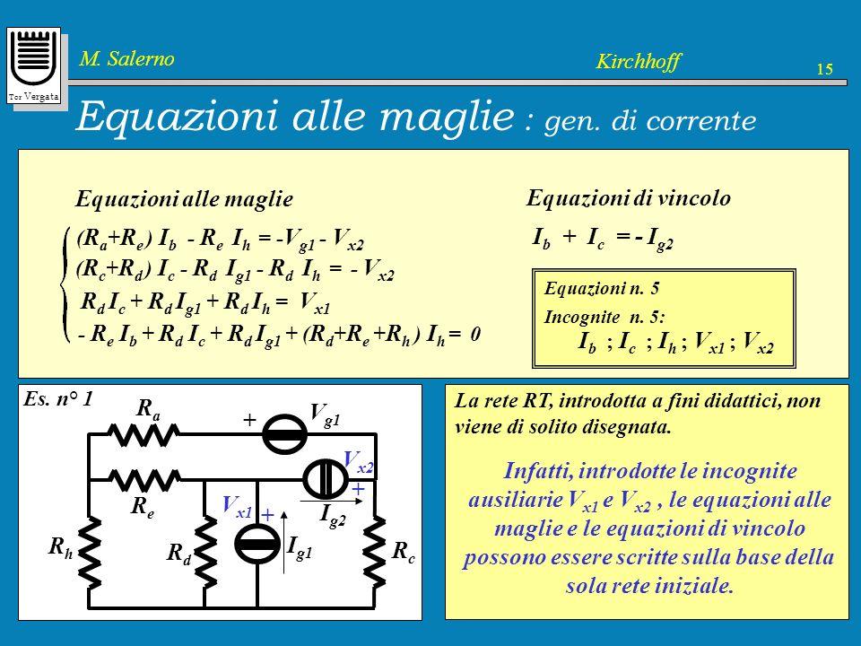 Equazioni alle maglie : gen. di corrente