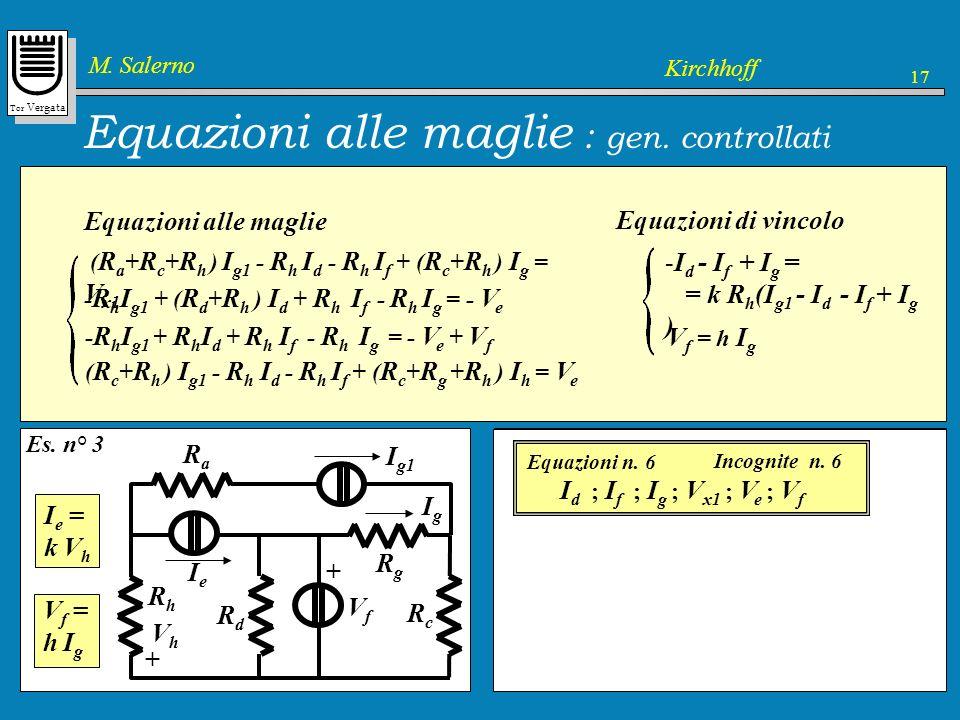 Equazioni alle maglie : gen. controllati