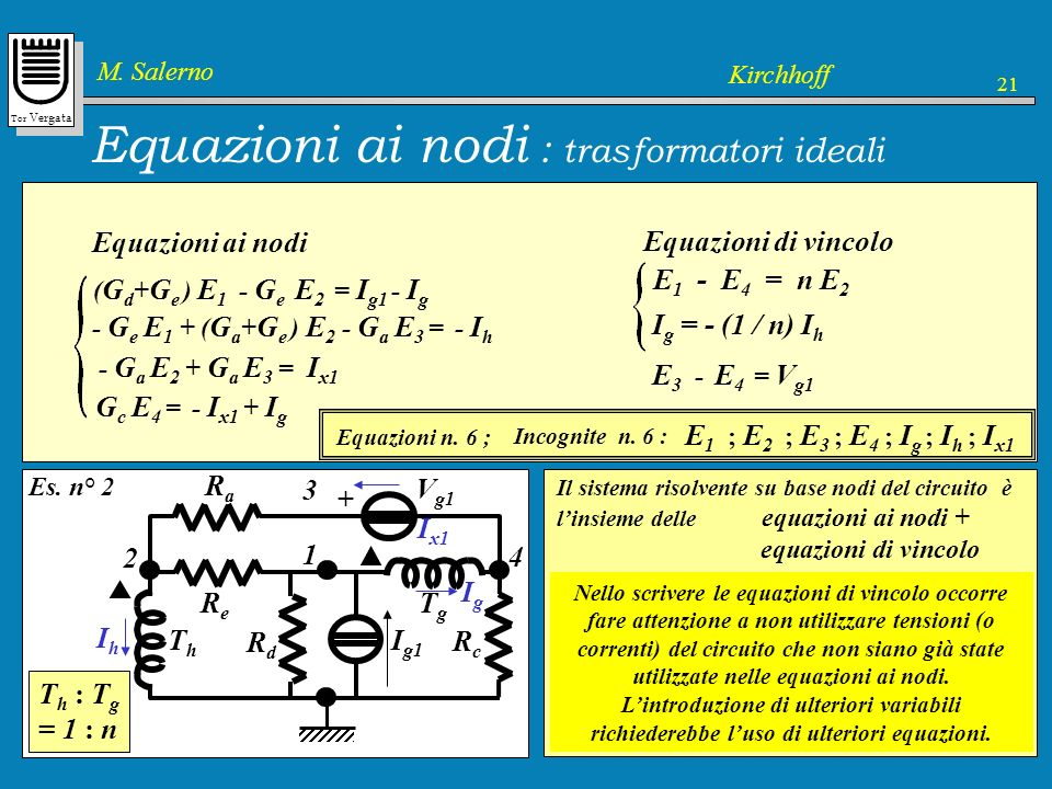 Equazioni ai nodi : trasformatori ideali