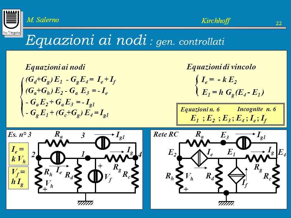 Equazioni ai nodi : gen. controllati