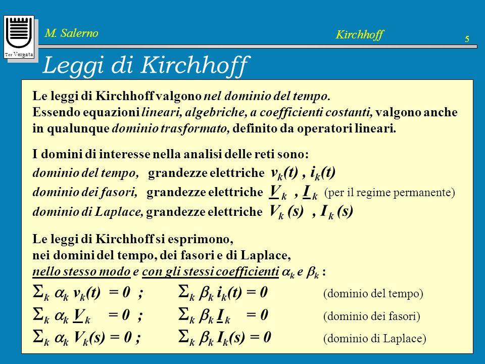 Leggi di Kirchhoff Le leggi di Kirchhoff dipendono dal grafo del circuito, ma non dipendono dai componenti presenti.