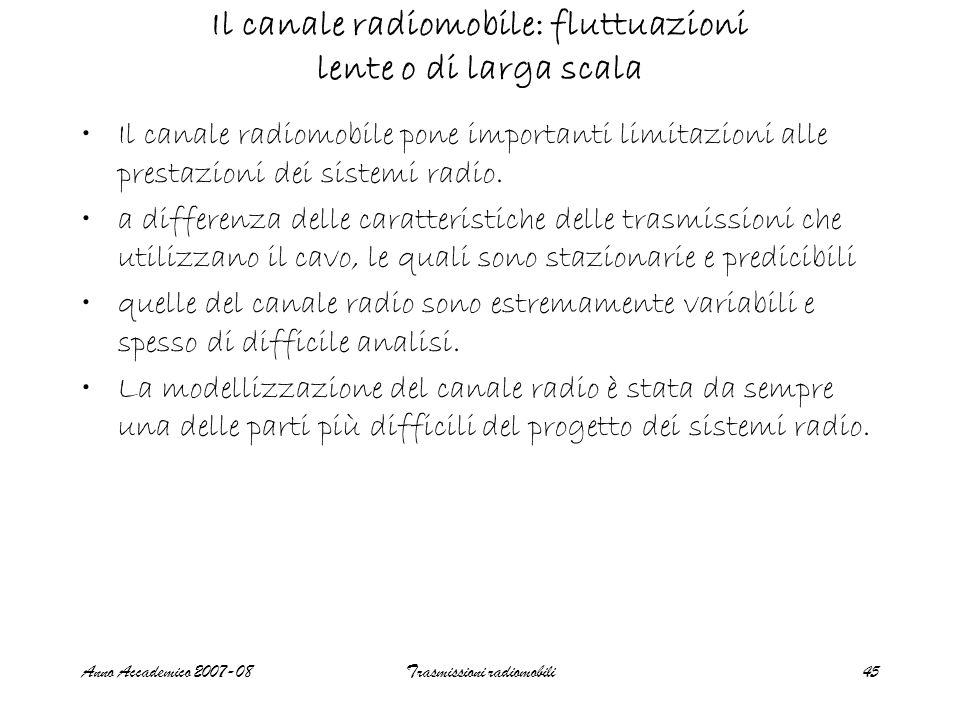 Il canale radiomobile: fluttuazioni lente o di larga scala
