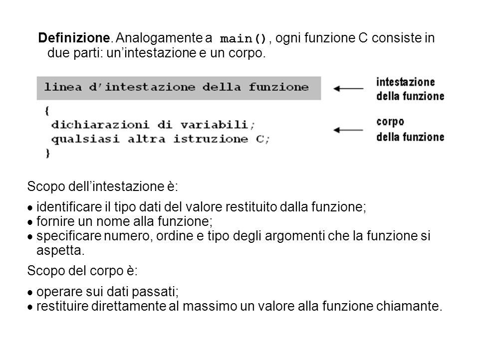 Definizione. Analogamente a main(), ogni funzione C consiste in due parti: un'intestazione e un corpo.