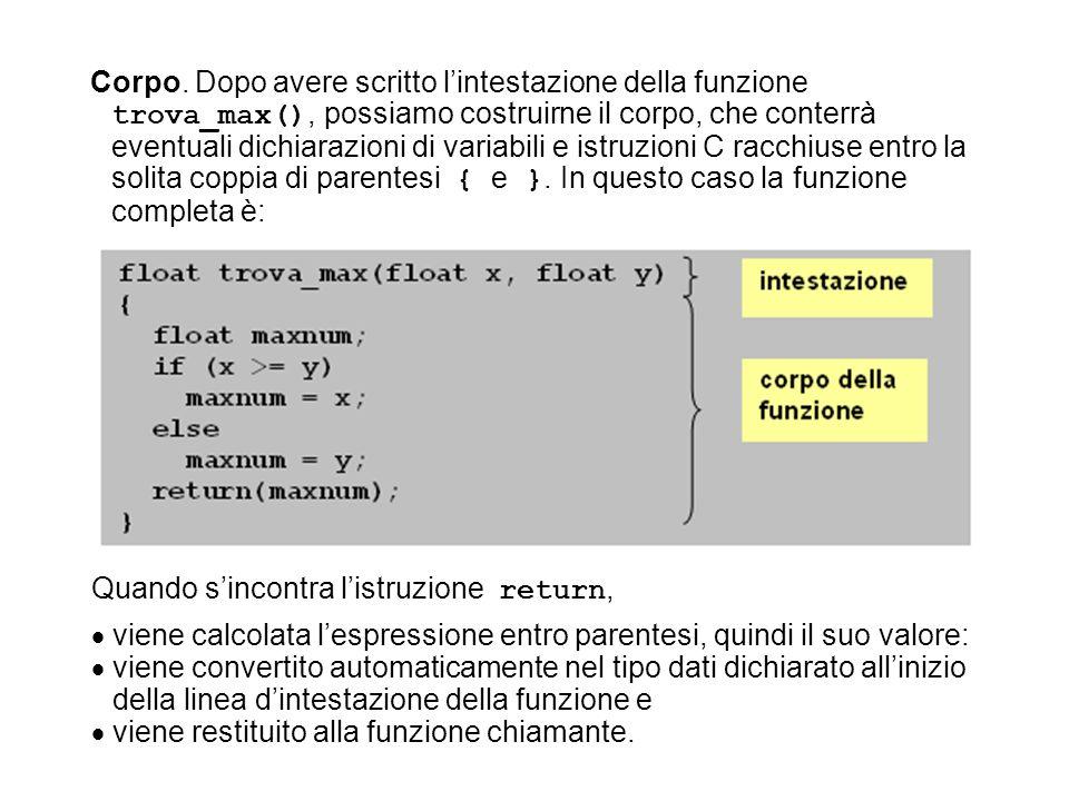 Corpo. Dopo avere scritto l'intestazione della funzione trova_max(), possiamo costruirne il corpo, che conterrà eventuali dichiarazioni di variabili e istruzioni C racchiuse entro la solita coppia di parentesi { e }. In questo caso la funzione completa è: