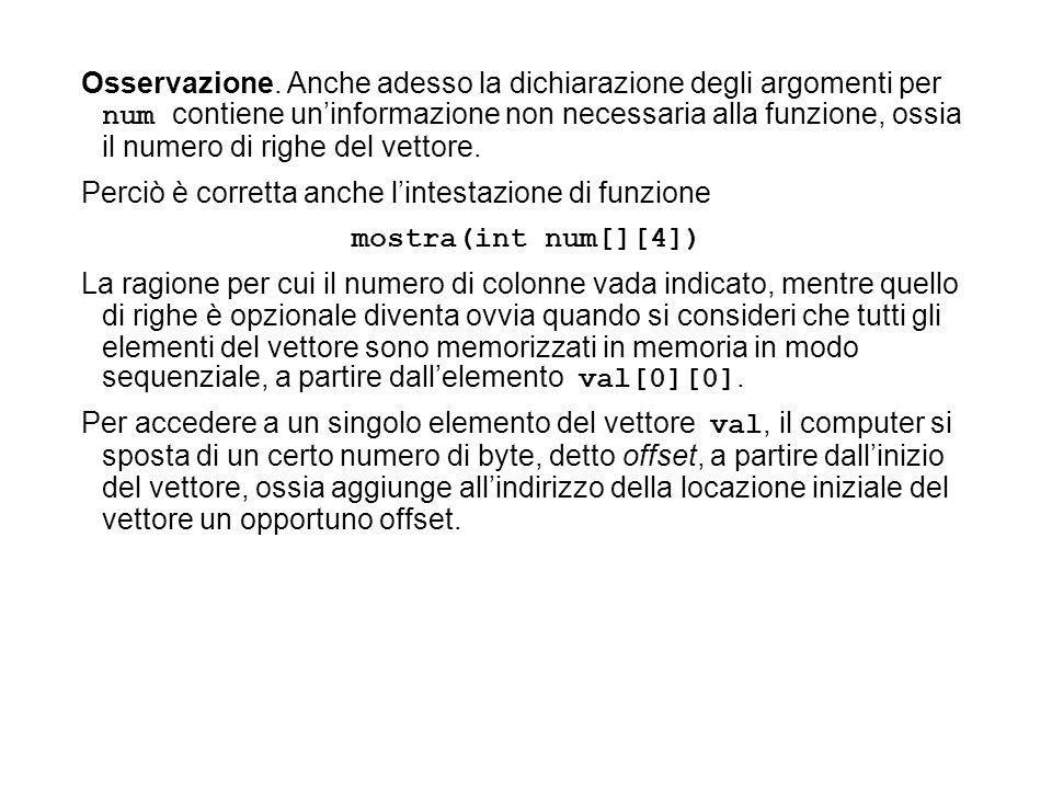 Osservazione. Anche adesso la dichiarazione degli argomenti per num contiene un'informazione non necessaria alla funzione, ossia il numero di righe del vettore.