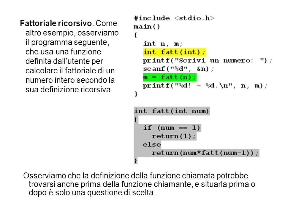 Fattoriale ricorsivo. Come altro esempio, osserviamo il programma seguente, che usa una funzione definita dall'utente per calcolare il fattoriale di un numero intero secondo la sua definizione ricorsiva.