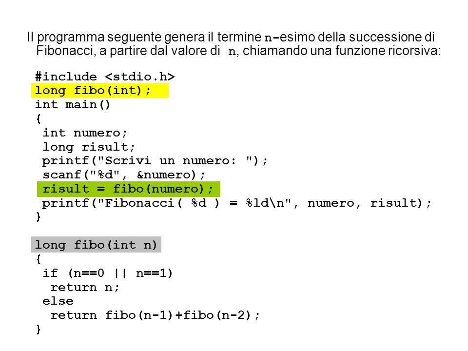 Il programma seguente genera il termine n-esimo della successione di Fibonacci, a partire dal valore di n, chiamando una funzione ricorsiva: