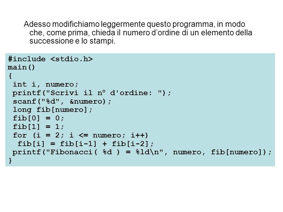 Adesso modifichiamo leggermente questo programma, in modo che, come prima, chieda il numero d'ordine di un elemento della successione e lo stampi.