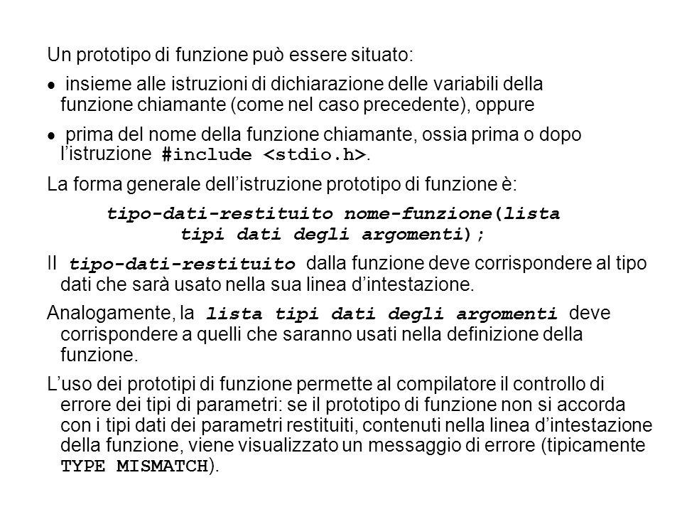 tipo-dati-restituito nome-funzione(lista tipi dati degli argomenti);