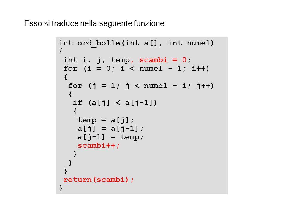 Esso si traduce nella seguente funzione:
