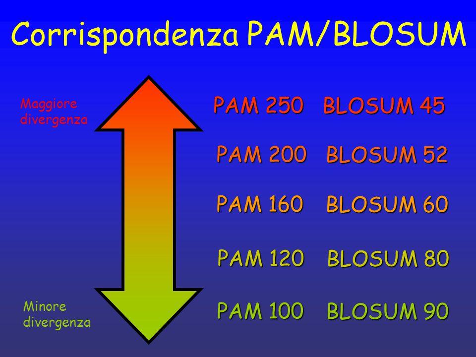 Corrispondenza PAM/BLOSUM