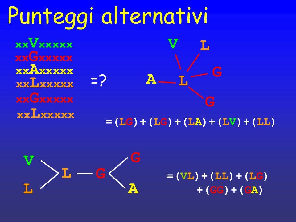 Punteggi alternativi V L G = A L G G V L G L A xxVxxxxx xxGxxxxx