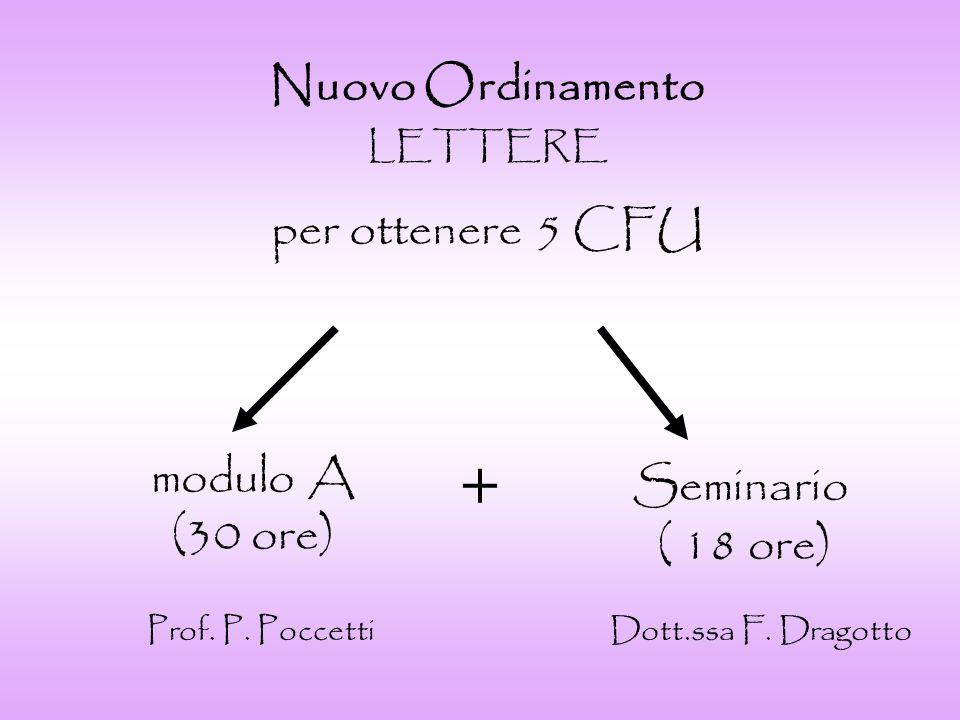 + Nuovo Ordinamento per ottenere 5 CFU modulo A Seminario (30 ore)