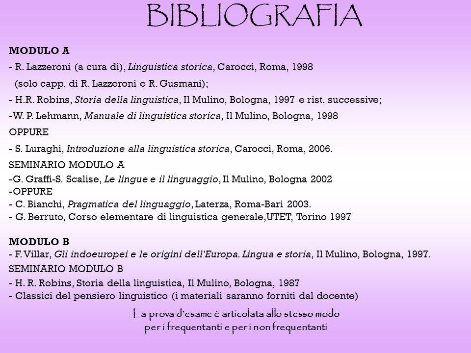 BIBLIOGRAFIA MODULO A. R. Lazzeroni (a cura di), Linguistica storica, Carocci, Roma, 1998. (solo capp. di R. Lazzeroni e R. Gusmani);