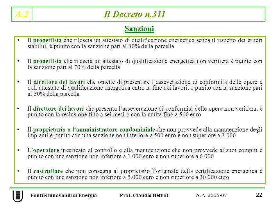 Fonti Rinnovabili di Energia Prof. Claudia Bettiol A.A. 2006-07