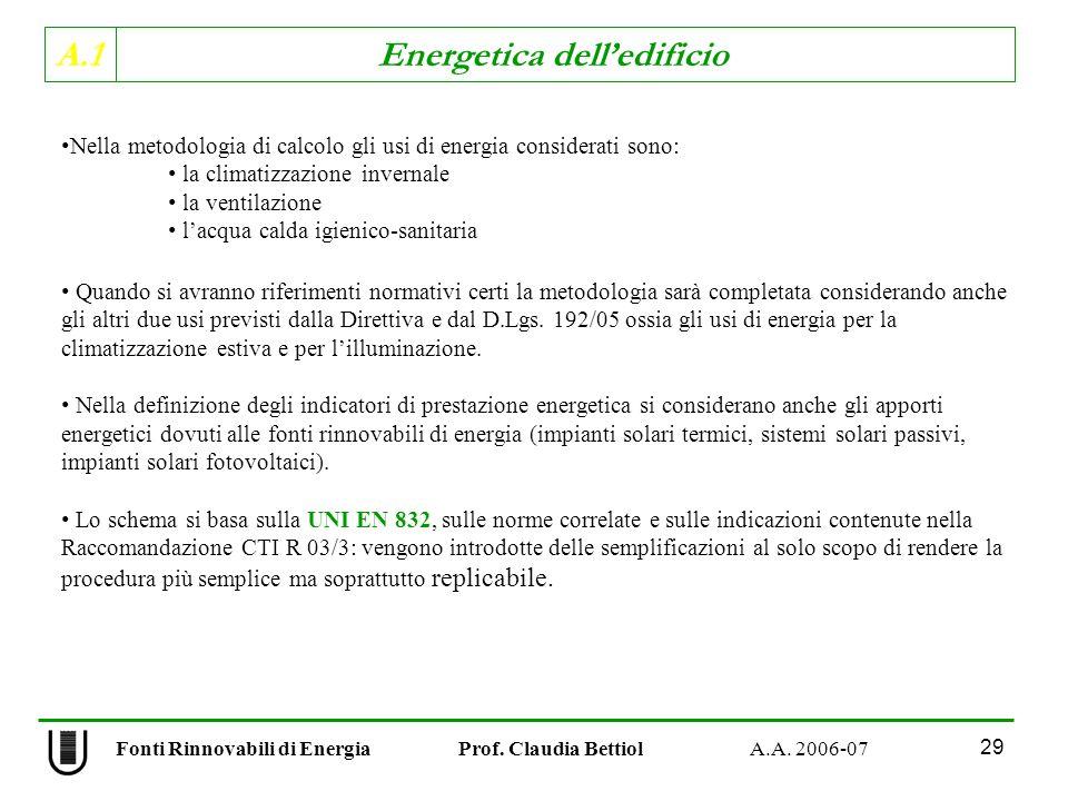 Nella metodologia di calcolo gli usi di energia considerati sono: