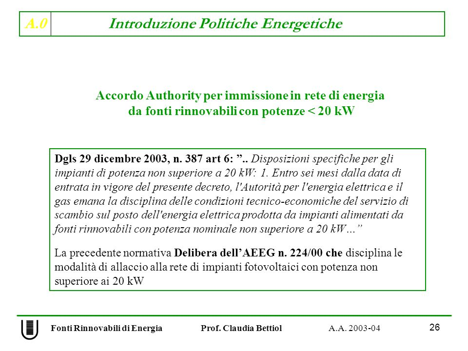 Accordo Authority per immissione in rete di energia