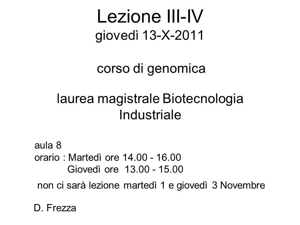 Lezione III-IV giovedì 13-X-2011