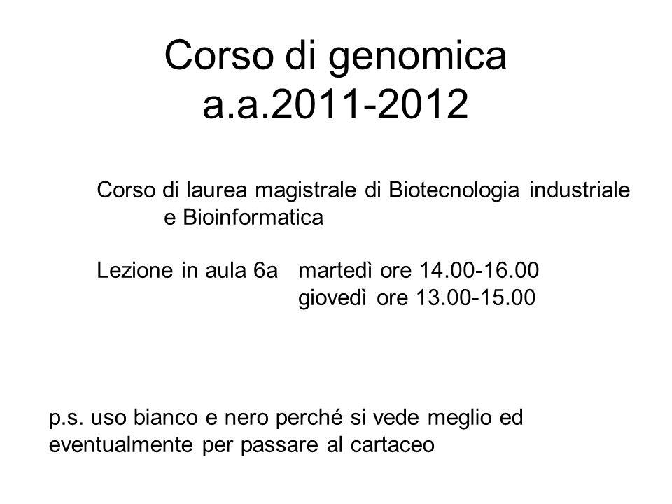 Corso di genomica a.a.2011-2012 Corso di laurea magistrale di Biotecnologia industriale. e Bioinformatica.