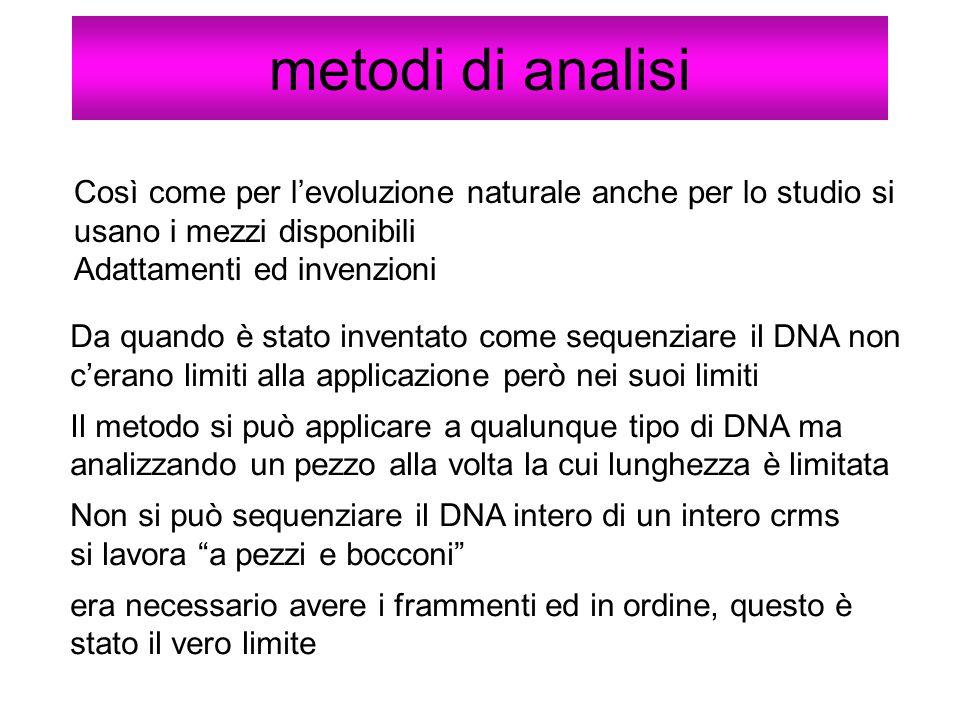 metodi di analisi Così come per l'evoluzione naturale anche per lo studio si usano i mezzi disponibili.