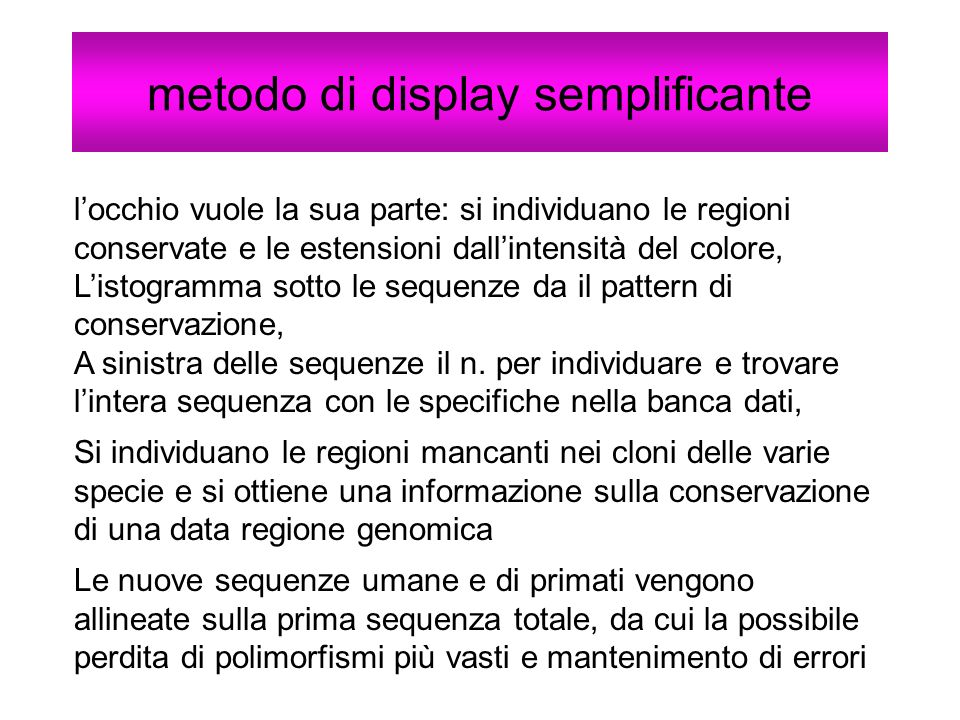metodo di display semplificante