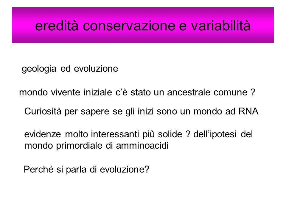 eredità conservazione e variabilità