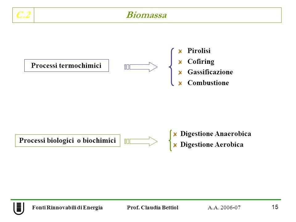 Processi termochimici Processi biologici o biochimici