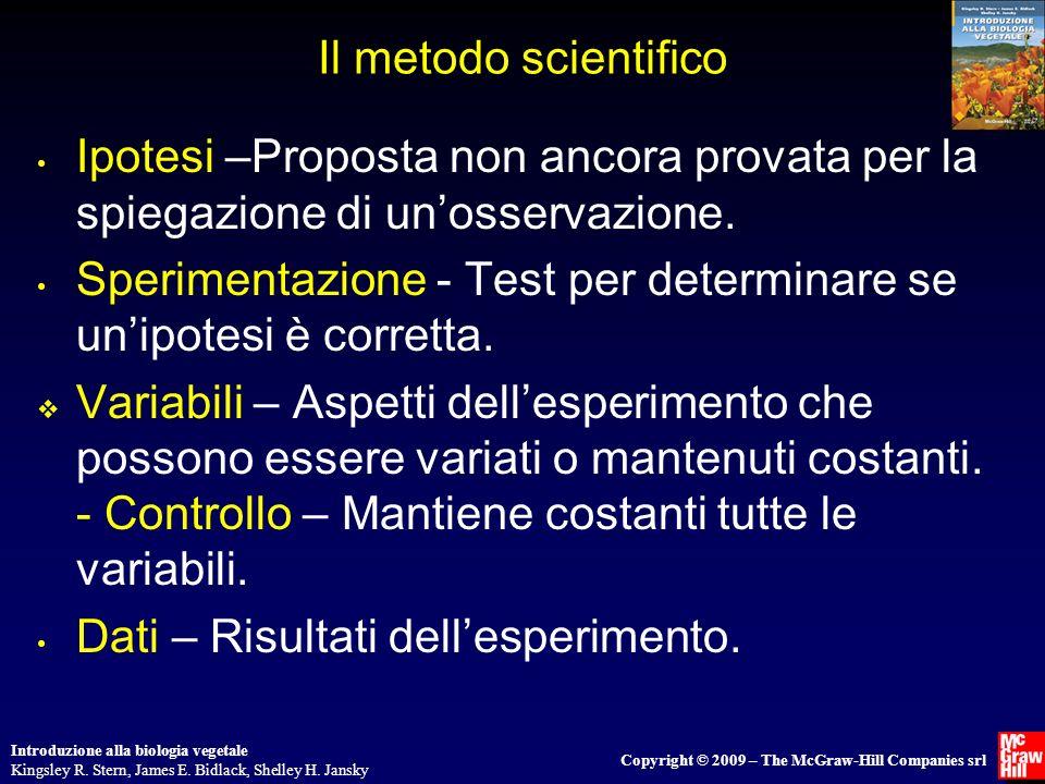 Il metodo scientifico Ipotesi –Proposta non ancora provata per la spiegazione di un'osservazione.
