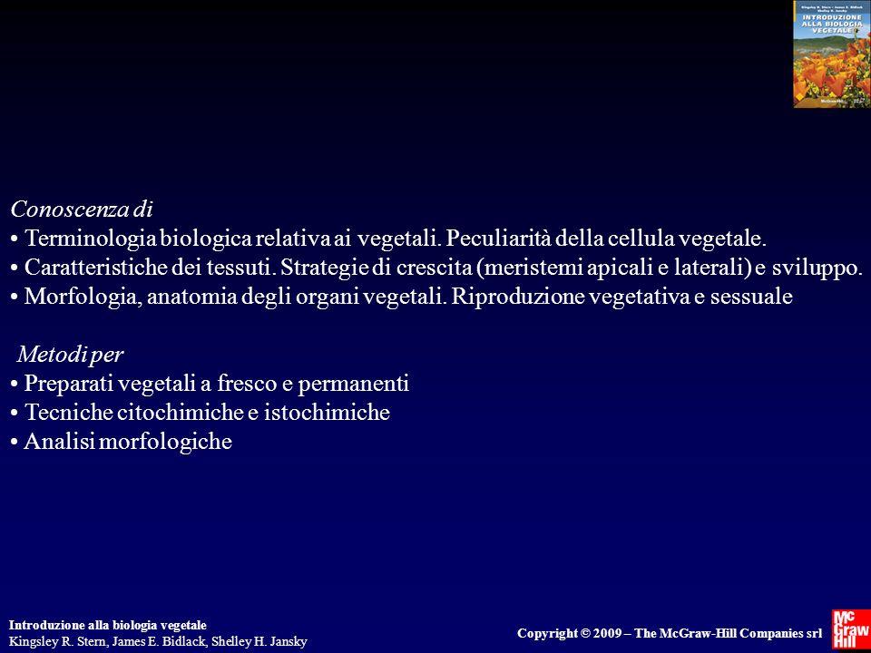 Conoscenza di • Terminologia biologica relativa ai vegetali. Peculiarità della cellula vegetale.