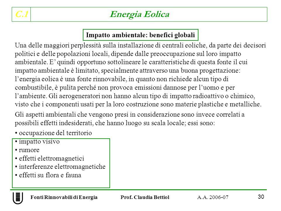Impatto ambientale: benefici globali