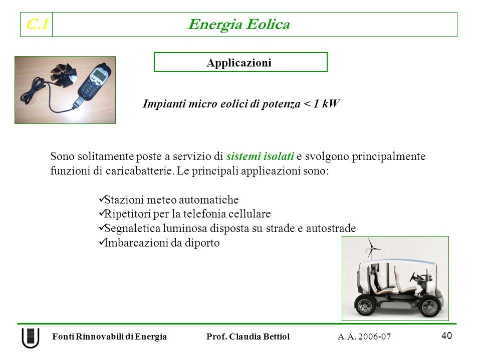 Impianti micro eolici di potenza < 1 kW