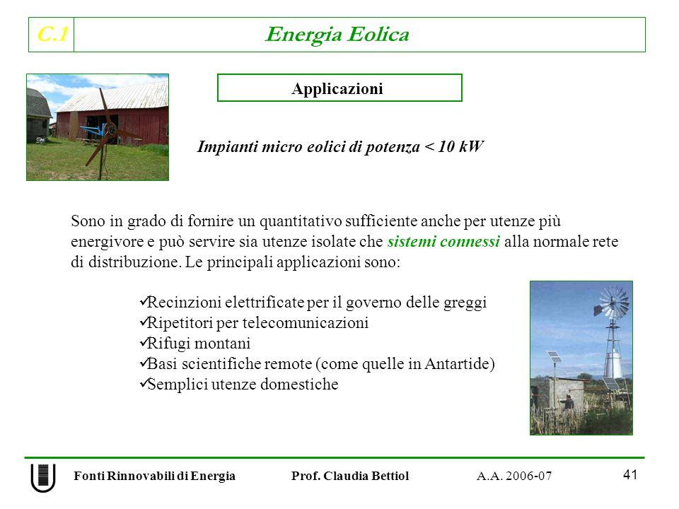 Impianti micro eolici di potenza < 10 kW