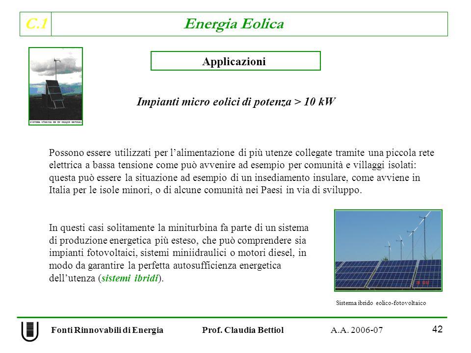 Impianti micro eolici di potenza > 10 kW