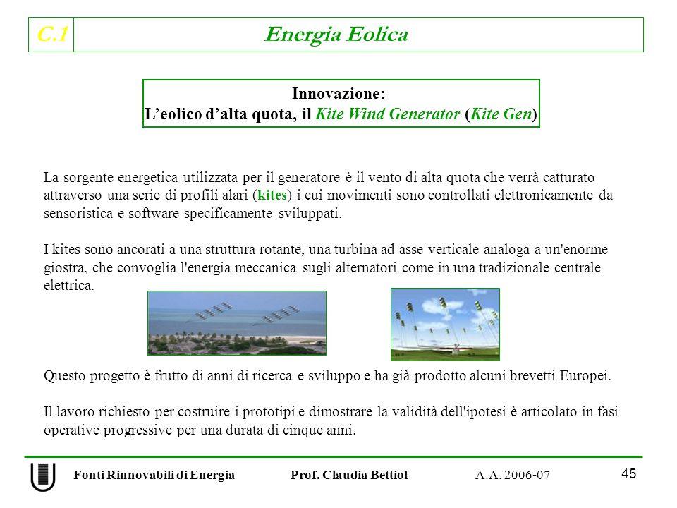 L'eolico d'alta quota, il Kite Wind Generator (Kite Gen)