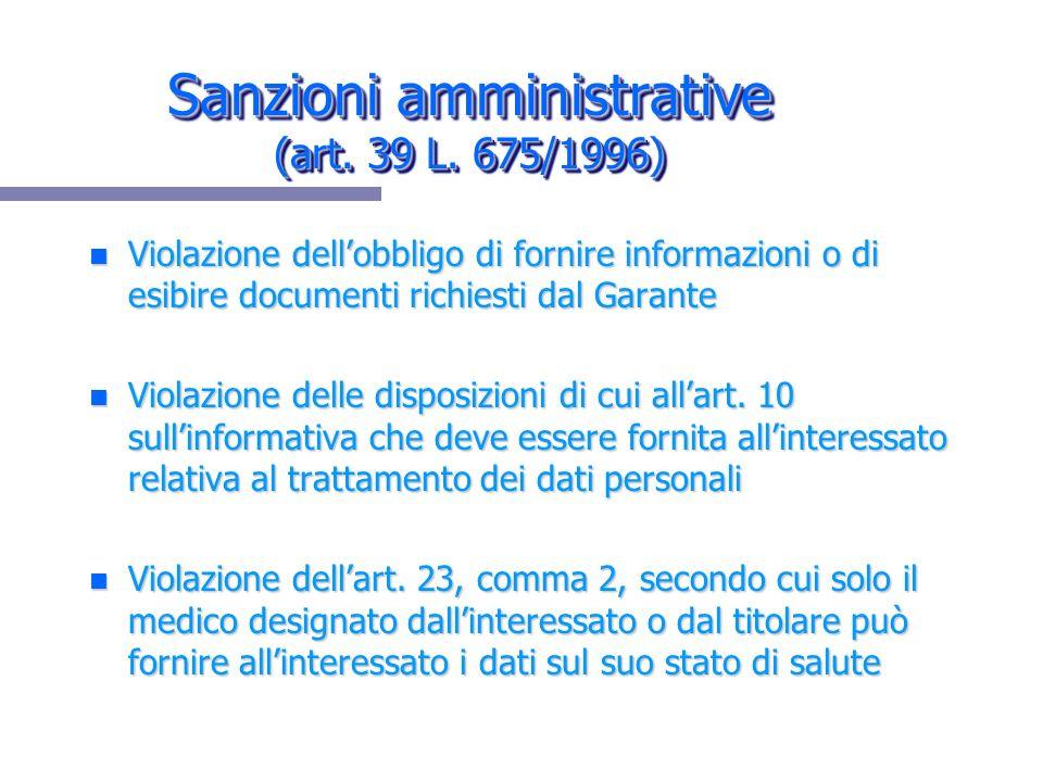 Sanzioni amministrative (art. 39 L. 675/1996)
