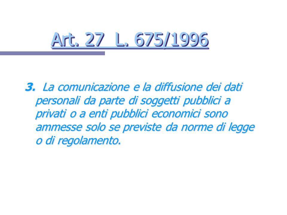 Art. 27 L. 675/1996