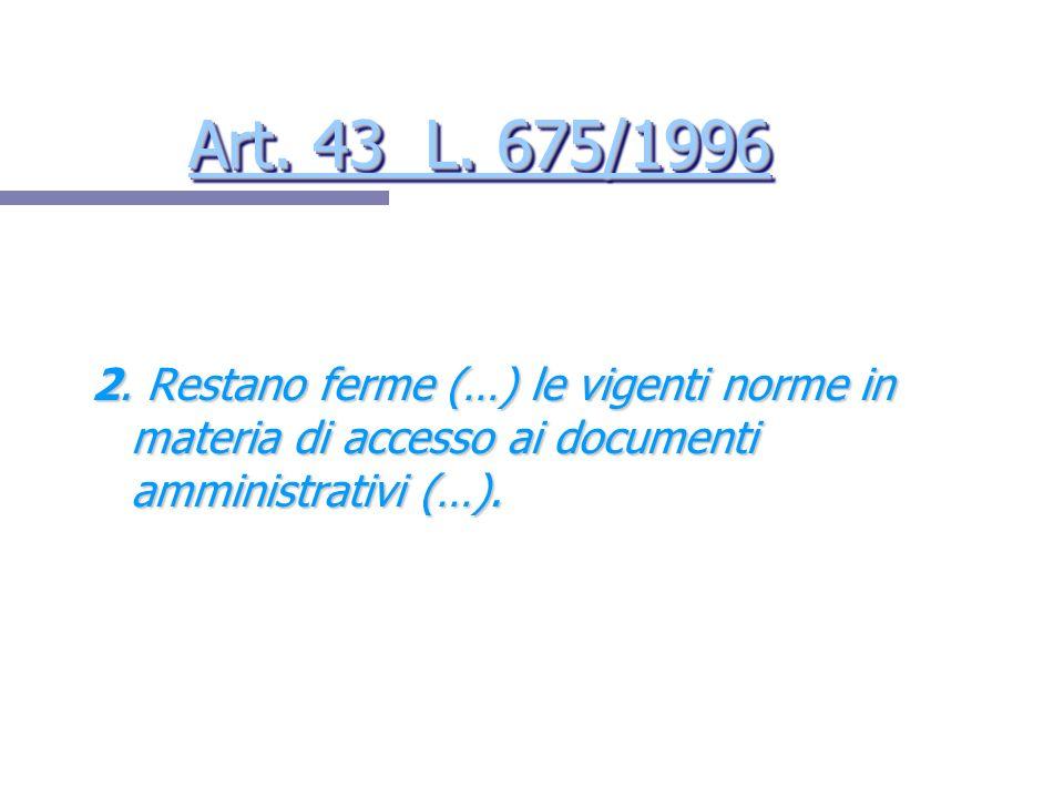 Art. 43 L. 675/1996 2.