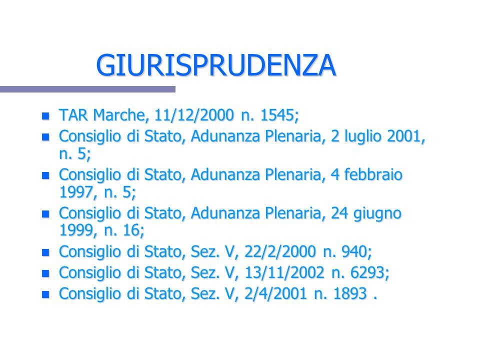 GIURISPRUDENZA TAR Marche, 11/12/2000 n. 1545;