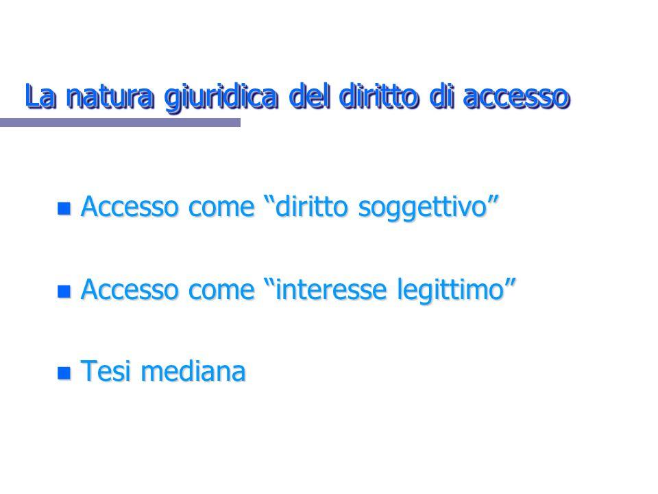 La natura giuridica del diritto di accesso