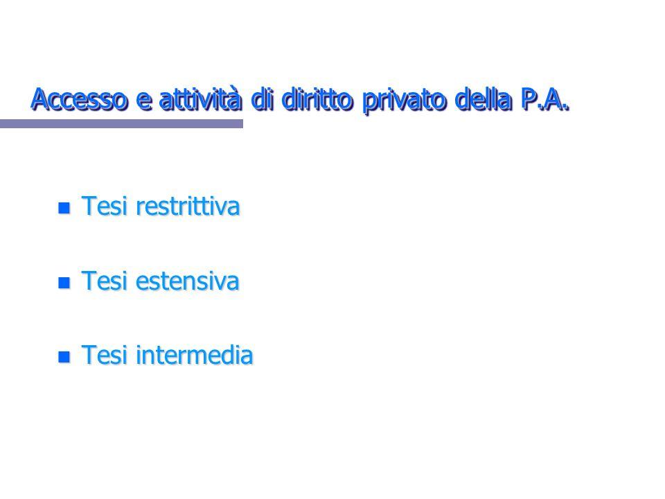 Accesso e attività di diritto privato della P.A.