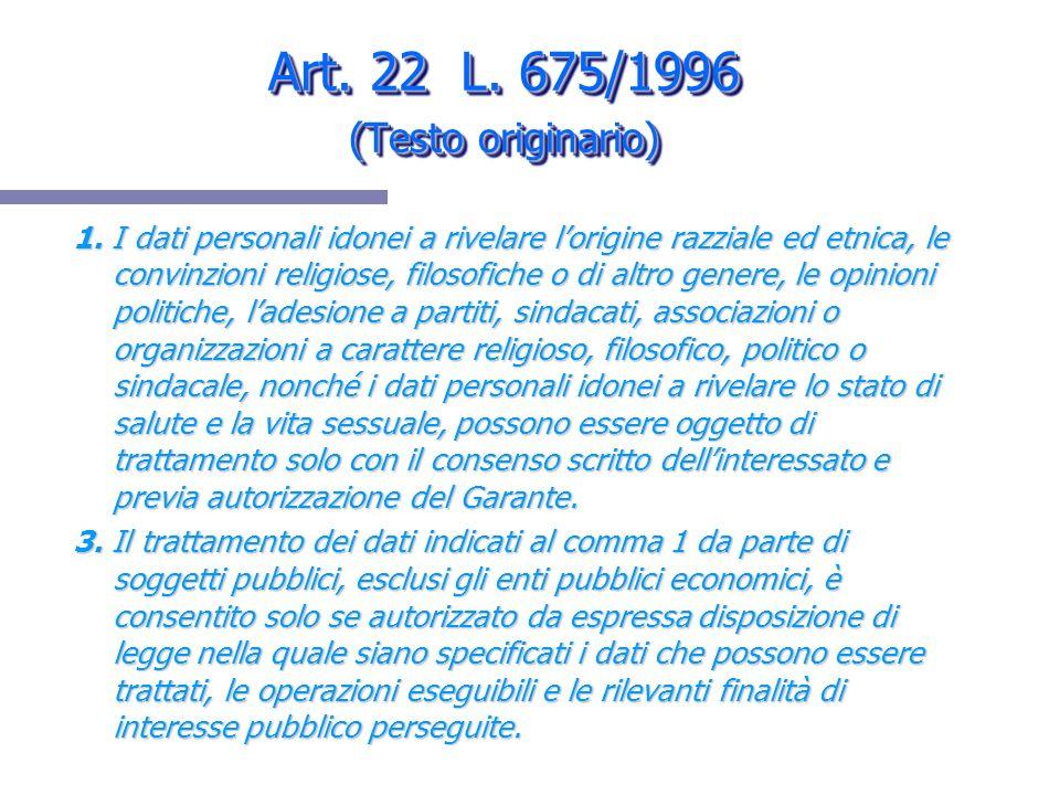 Art. 22 L. 675/1996 (Testo originario)