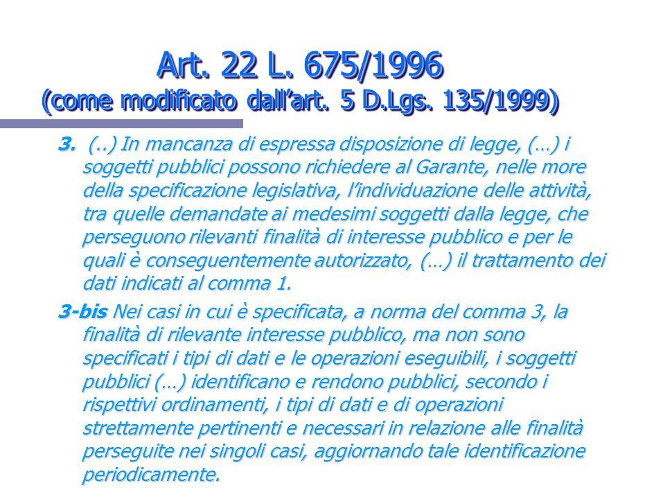 Art. 22 L. 675/1996 (come modificato dall'art. 5 D.Lgs. 135/1999)