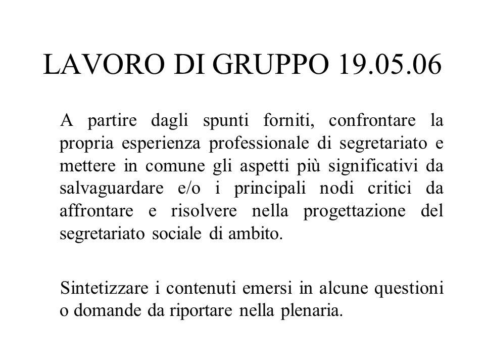 LAVORO DI GRUPPO 19.05.06