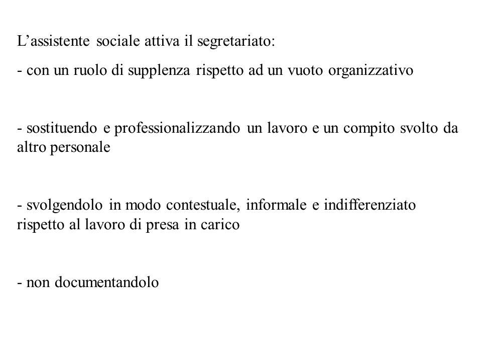 L'assistente sociale attiva il segretariato: