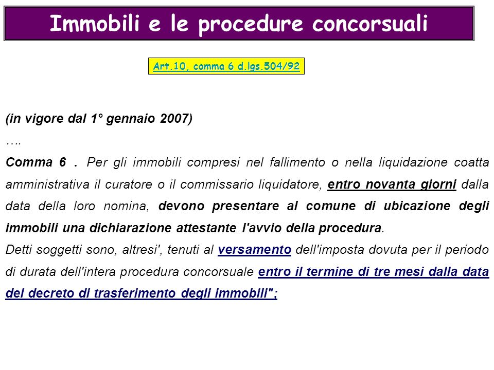Immobili e le procedure concorsuali