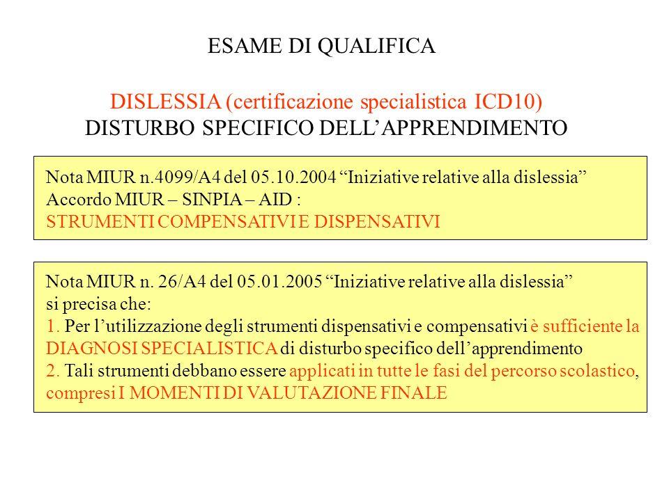 ESAME DI QUALIFICA DISLESSIA (certificazione specialistica ICD10) DISTURBO SPECIFICO DELL'APPRENDIMENTO.