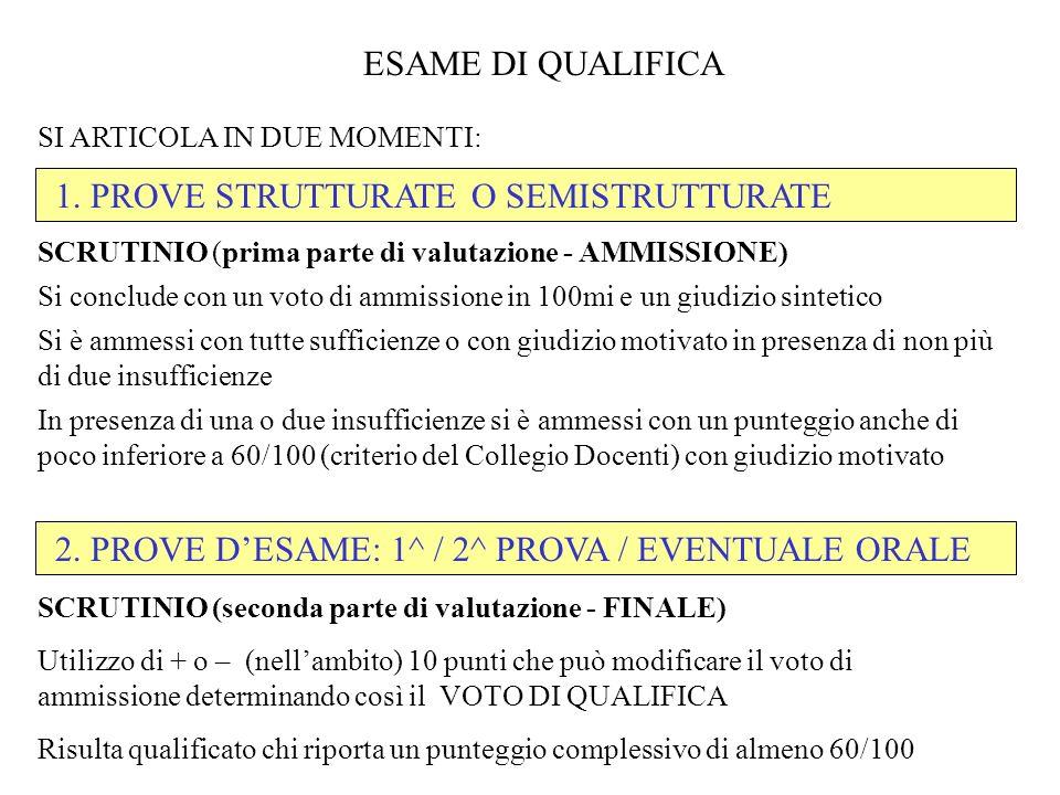 1. PROVE STRUTTURATE O SEMISTRUTTURATE