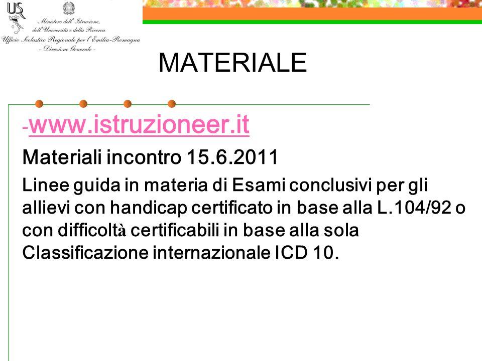 MATERIALE www.istruzioneer.it Materiali incontro 15.6.2011