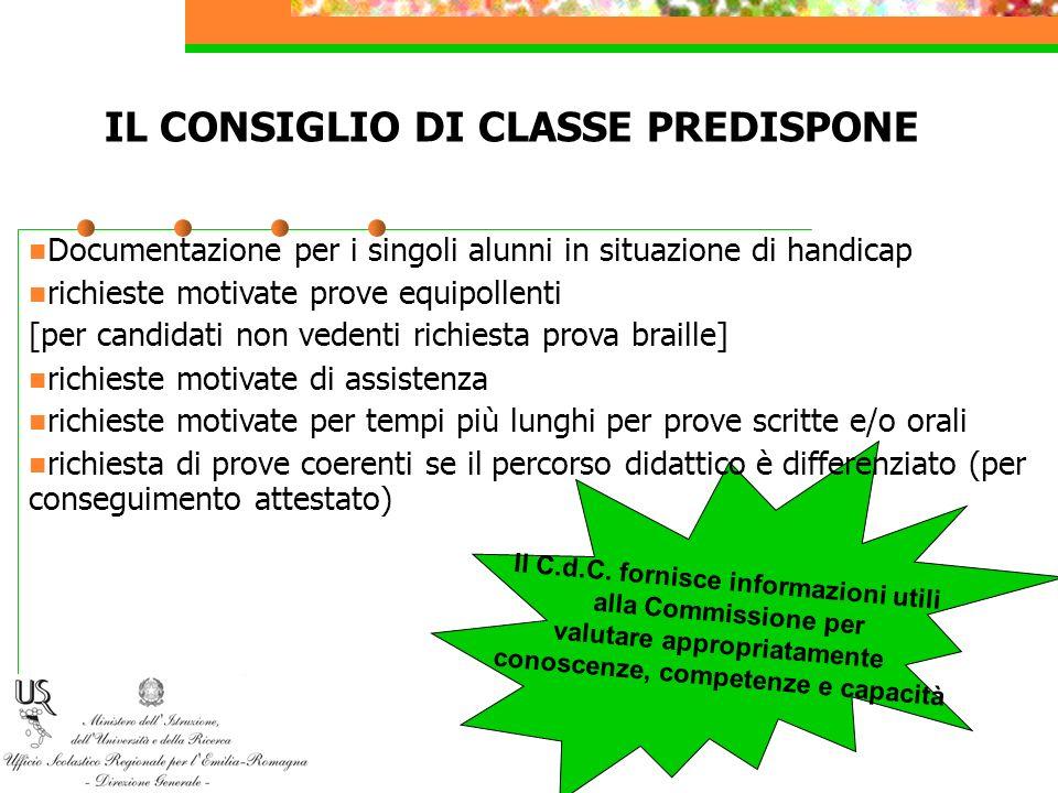 IL CONSIGLIO DI CLASSE PREDISPONE
